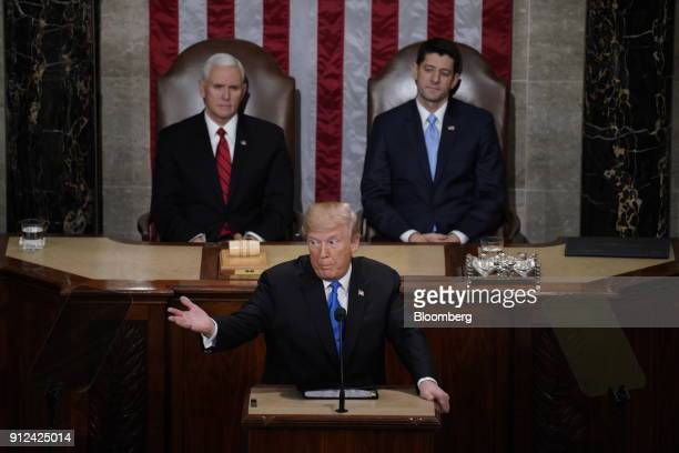 US President Donald Trump center delivers a State of the Union address to a joint session of Congress at the US Capitol in Washington DC US on...