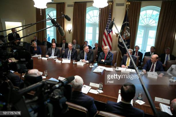 President Donald Trump center hosts a cabinet meeting in the Cabinet Room of the White House on August 16 2018 in Washington DC