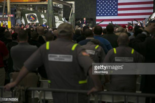 US President Donald Trump center speaks at the Joint Systems Manufacturing Center in Lima Ohio US on Wednesday March 20 2019 Trumpon Wednesday...