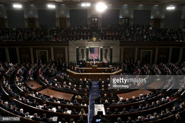 US President Donald Trump center speaks during a joint session of Congress in Washington DC US on Tuesday Feb 28 2017 Trump will press Congress to...