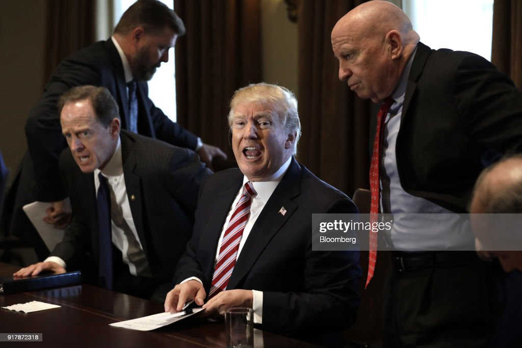 U.S. President Donald Trump, center, speaks during a meeting with bipartisan members of Congress on trade in the Cabinet Room of the White House in Washington, D.C., U.S., on Tuesday, Feb. 13, 2018. Republican lawmakers cautioned Trumpin a White House meeting against levying tariffs on steel and aluminum imports, warning that it would raise prices of the metals and potentially cost the U.S. jobs in other industries including car manufacturing. Photographer: Yuri Gripas/Bloomberg via Getty Images