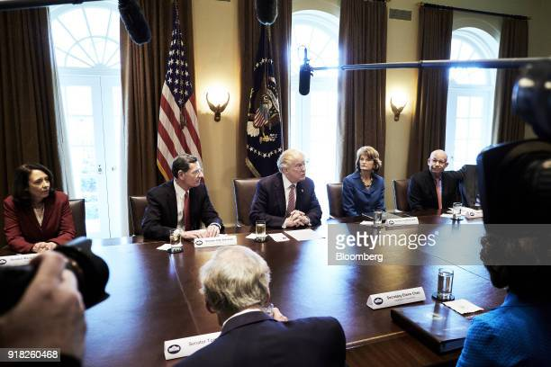 US President Donald Trump center speaks during a meeting with bipartisan members of congress in the Cabinet Room of the White House in Washington DC...