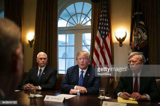US President Donald Trump center speaks during a meeting with senior military leadership in the Cabinet Room of the White House in Washington DC US...