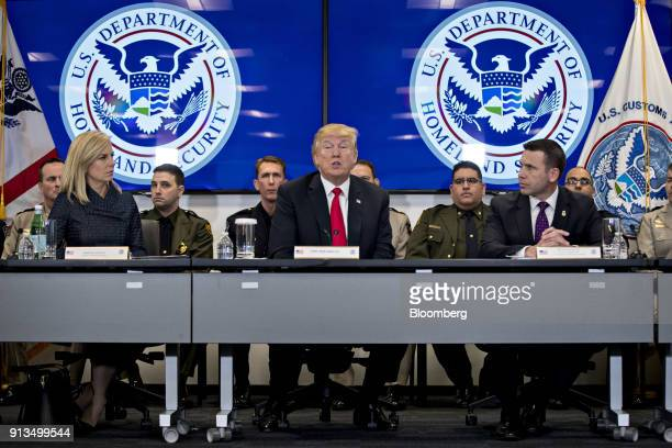 US President Donald Trump center speaks while Kirstjen Nielsen secretary of Homeland Security left and Kevin McAleenan acting commissioner of the US...