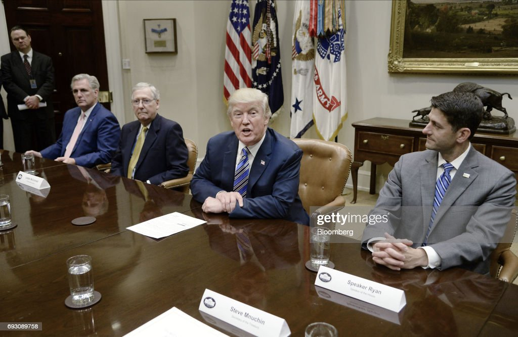 President Trump Meets With Senate And House Leadership At The White House : News Photo
