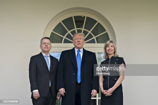 US President Donald Trump center US Pastor Andrew Brunson left and his wife Norine Brunson stand for members of the media outside the Oval Office of...