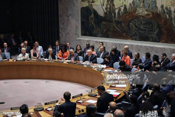 President Donald Trump chairs a United Nations Security Council meeting on September 26 2018 in New York City Trump presides over the 15member...
