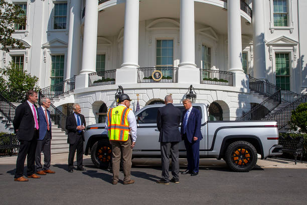 DC: President Trump Inspects Electric Pickup Truck At The White House