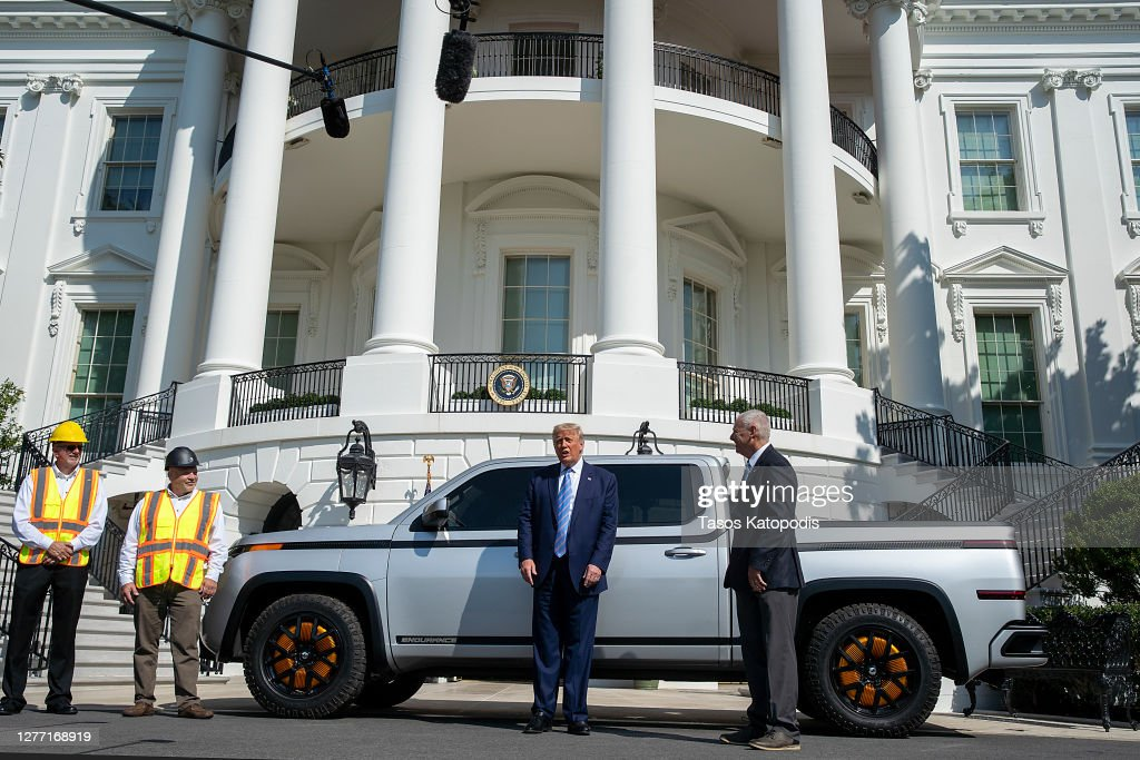 President Trump Inspects Electric Pickup Truck At The White House : News Photo