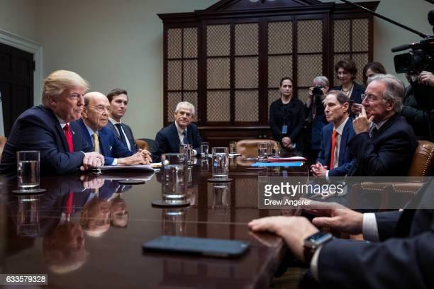 President Donald Trump Commerce Secretary nominee Wilbur Ross and senior advisor Jared Kushner attend a meeting with Senate and House legislators in...