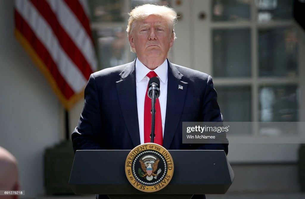 President Donald Trump Makes Statement On Paris Climate Agreement : News Photo