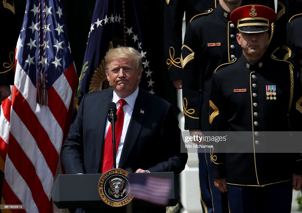 U.S. President Donald Trump concludes his remarks during a 'Celebration of America' event on the south lawn of the White House June 5, 2018 in Washington, DC. The event, originally intended to honor the Super Bowl champion Philadelphia Eagles, was changed after the majority of the team declined to attend the event due to a disagreement with Trump over NFL players kneeling during the national anthem.