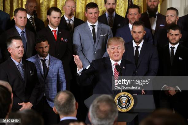 S President Donald Trump congratulates the Houston Astros while celebrating the team's World Series victory in the East Room of the White House March...