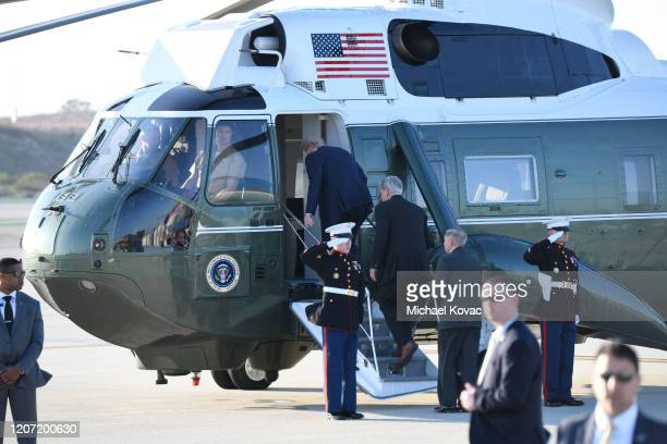 US President Donald Trump Congressman Kevin McCarthy and Senator Lindsey Graham board Marine One after arriving on Air Force One at LAX Airport on...