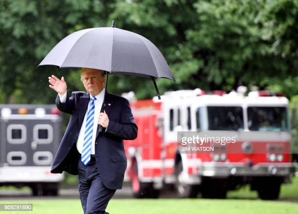 US President Donald Trump crosses the South Lawn of the White House and walks to Marine One as he departs for Walter Reed National Military Medical...