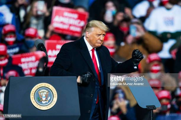 President Donald Trump dances after speaking to supporters during a rally on October 31, 2020 in Montoursville, Pennsylvania. Donald Trump is...