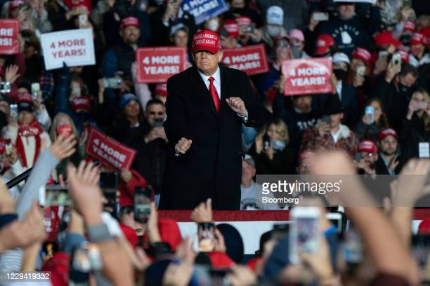 President Donald Trump dances during a campaign rally in Rome, Georgia, U.S., on Sunday, Nov. 1, 2020. After striding into the 2020 election year...