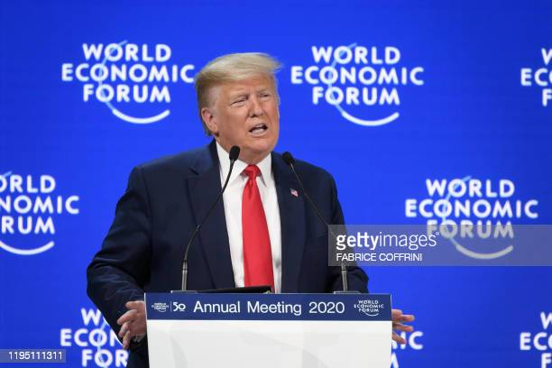 TOPSHOT US president Donald Trump delivers a speech at the Congres center during the World Economic Forum annual meeting in Davos on January 21 2020
