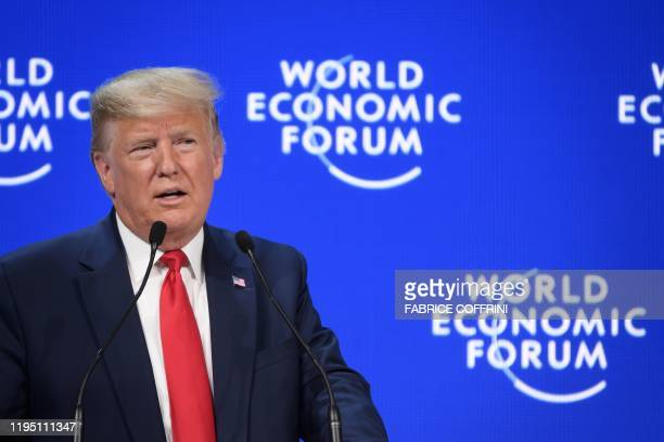 US president Donald Trump delivers a speech at the Congres center during the World Economic Forum annual meeting in Davos on January 21 2020