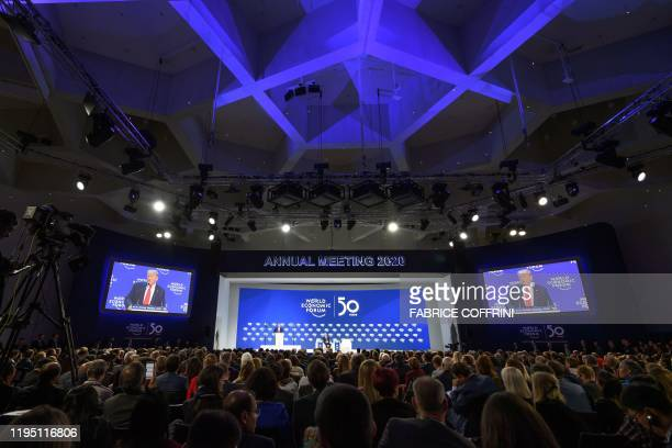 US President Donald Trump delivers a speech at the Congress center during the World Economic Forum annual meeting in Davos on January 21 2020