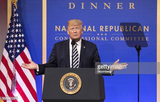US President Donald Trump delivers a speech at the National Republican Congressional Committee annual March Dinner at the National Building Museum in...