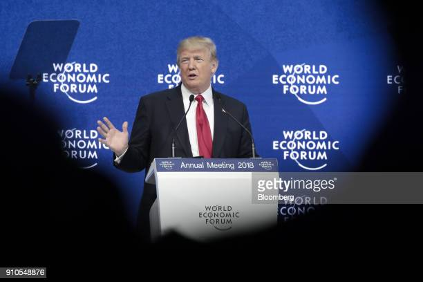 US President Donald Trump delivers a speech during a special address on the closing day of the World Economic Forum in Davos Switzerland on Friday...