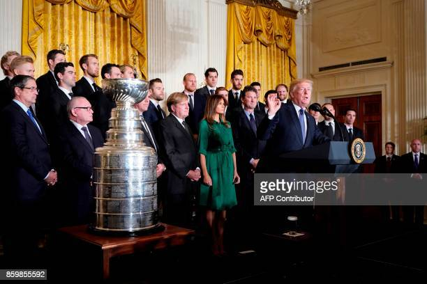 US President Donald Trump delivers a speech during an event at the White House in Washington DC on October 10 honouring the Pittsburgh Penguins 2017...