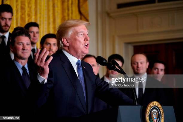 President Donald Trump delivers a speech during an event at the White House in Washington, DC, on October 10 honouring the Pittsburgh Penguins 2017...