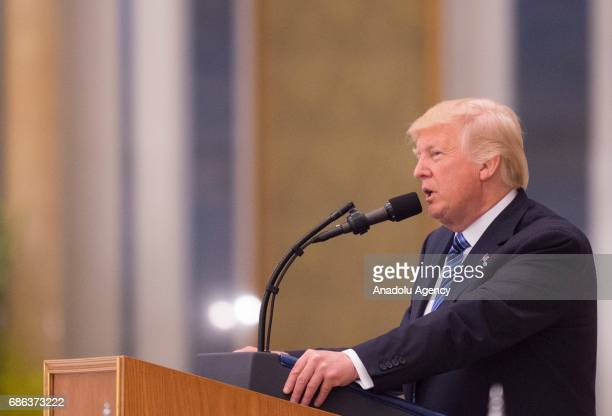 US President Donald Trump delivers a speech during the Arabic Islamic American Summit at King Abdul Aziz International Conference Center in Riyadh...