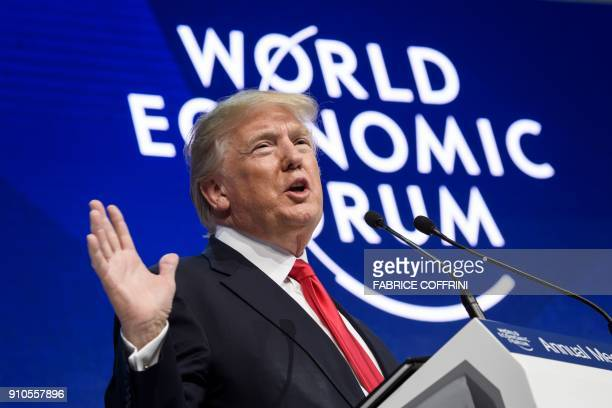 US President Donald Trump delivers a speech during the World Economic Forum annual meeting on January 26 2018 in Davos eastern Switzerland / AFP...