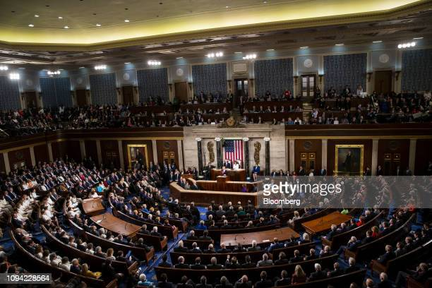 President Donald Trump delivers a State of the Union address to a joint session of Congress at the U.S. Capitol in Washington, D.C., U.S., on...