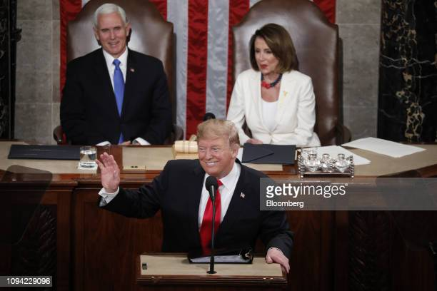 US President Donald Trump delivers a State of the Union address to a joint session of Congress at the US Capitol in Washington DC US on Tuesday Feb 5...