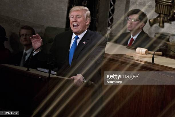 US President Donald Trump delivers a State of the Union address to a joint session of Congress at the US Capitol in Washington DC US on Tuesday Jan...