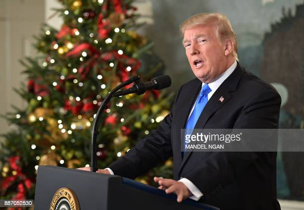 President Donald Trump delivers a statement on Jerusalem from the Diplomatic Reception Room of the White House in Washington, DC on December 6, 2017....