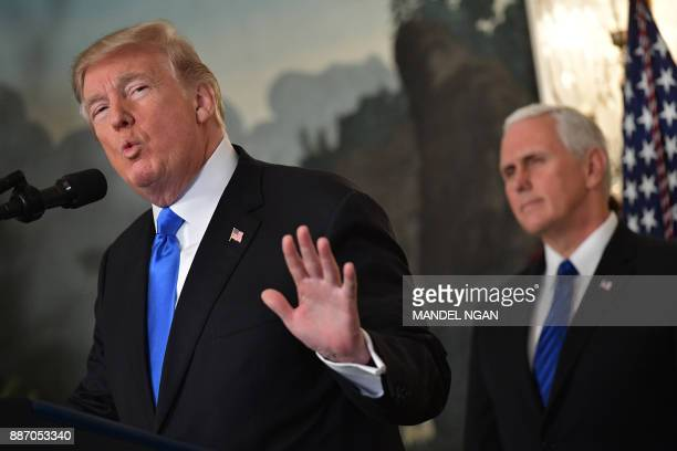 US President Donald Trump delivers a statement on Jerusalem from the Diplomatic Reception Room of the White House in Washington DC on December 6 2017...