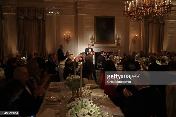 President Donald Trump delivers brief remarks before a toast during the annual Governors' Dinner in the East Room of the White House February 26 2017...