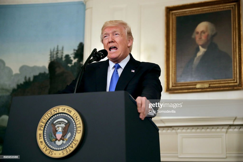 U.S. President Donald Trump delivers brief remarks in the Diplomatic Room following a shooting that injured a member of Congress and law enforcement officers at the White House June 14, 2017 in Washington, DC. Trump announced that the suspected gunman, 66-year-old James T. Hodgkinson of Belleville, IL, had died.