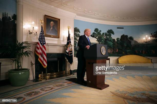 S President Donald Trump delivers brief remarks in the Diplomatic Room following a shooting that injured a member of Congress and law enforcement...