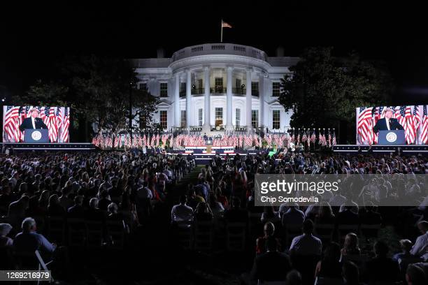 President Donald Trump delivers his acceptance speech for the Republican presidential nomination on the South Lawn of the White House August 27, 2020...