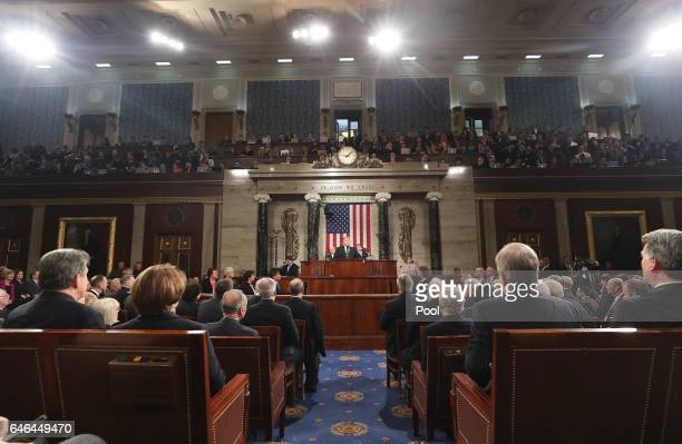 US President Donald Trump delivers his first address to a joint session of the US Congress on February 28 2017 in the House chamber of the US Capitol...