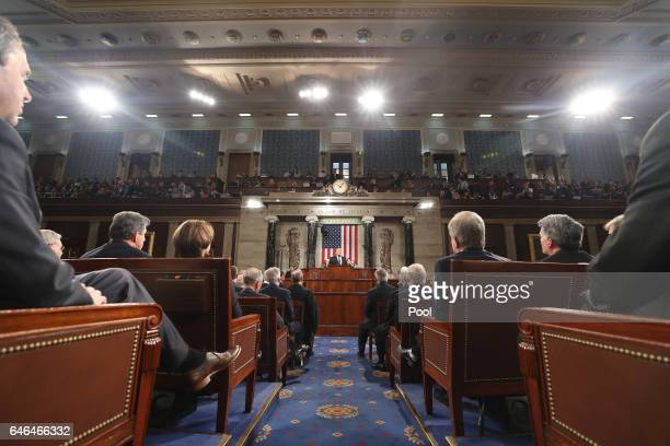 US President Donald Trump delivers his first address to a joint session of Congress on February 28 2017 in the House chamber of the US Capitol in...