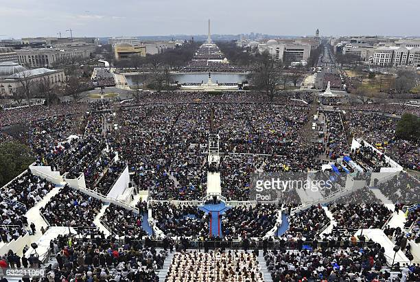 President Donald Trump delivers his inaugural address on January 20 2017 at the US Capitol in Washington DC In today's inauguration ceremony Donald J...