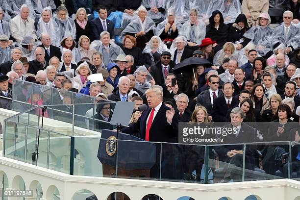 S President Donald Trump delivers his inaugural address on the West Front of the US Capitol on January 20 2017 in Washington DC In today's...