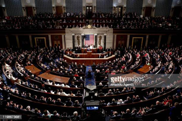 S President Donald Trump delivers his State of the Union address at the US Capitol in Washington DC United States on February 04 2020