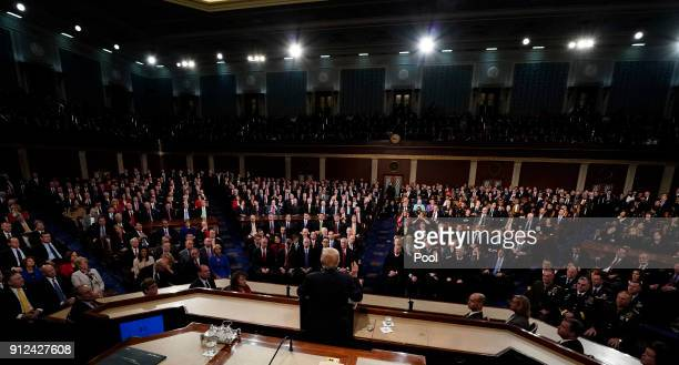 S President Donald Trump delivers his State of the Union address to a joint session of the US Congress on Capitol Hill January 30 2018 in Washington...