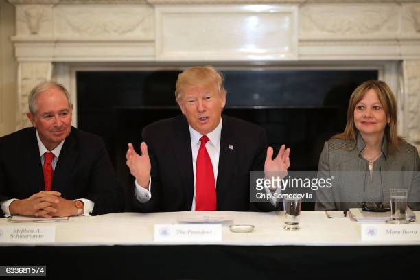 S President Donald Trump delivers opening remarks at the beginning of a policy forum with business leaders with General Motors CEO Mary Barra and...