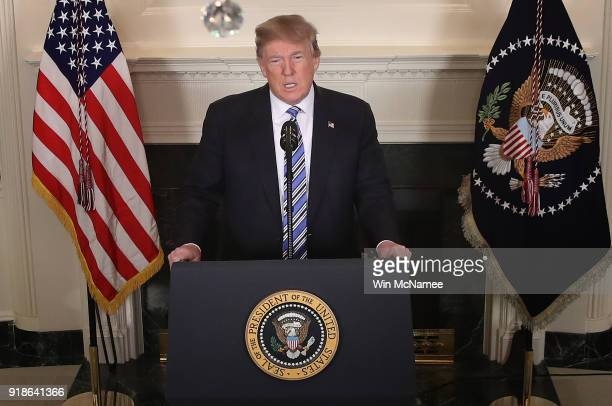 S President Donald Trump delivers remarks about the shooting yesterday at Marjory Stoneman Douglas High School at the White House on February 15 2018...