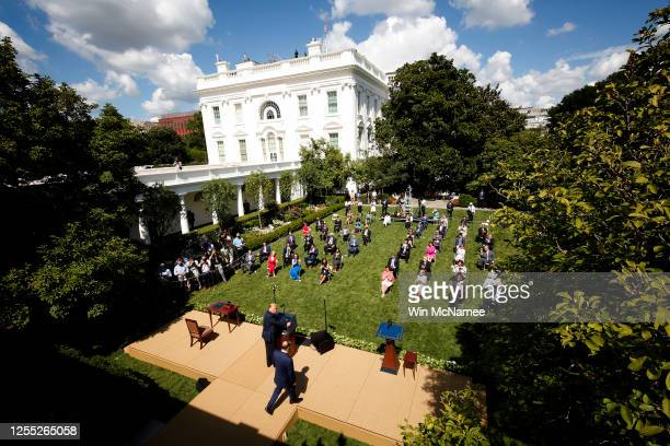 President Donald Trump delivers remarks about the White House Hispanic Prosperity Initiative in the Rose Garden July 9, 2020 in Washington, DC. Trump...