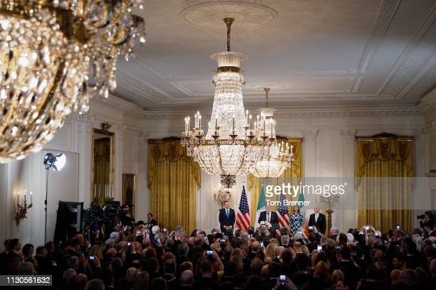 President Donald Trump delivers remarks as Taoiseach Leo Varadkar of Ireland First Lady Melania Trump and Vice President Mike Pence look on during...