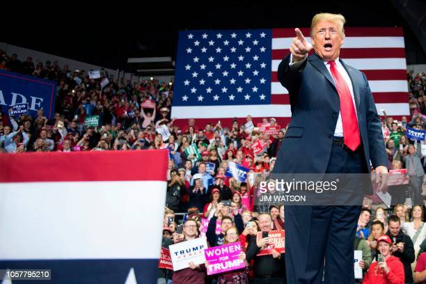 President Donald Trump delivers remarks at a Make America Great Again rally in Fort Wayne Indiana on November 5 2018